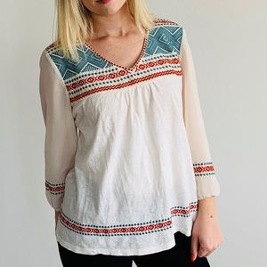 THML Anthropologie Embroidered Blouse
